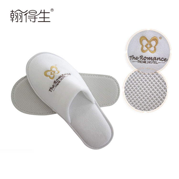 washable hotel guest custom made cheap plush indoor slippers