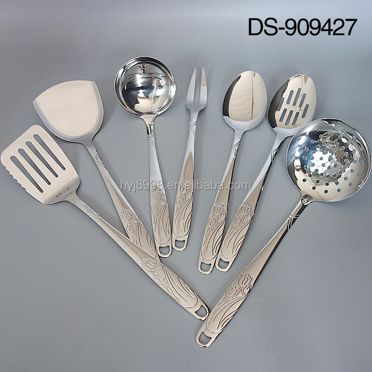 Buffet used stainless steel kitchen utensils set with stamp design