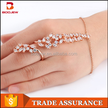Dubai Rose Gold Plated Zircon Slave Bracelet With Ring Attached Bride Jewelry Finger Chain