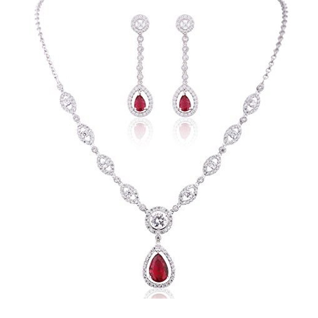 Fashion Style Plated Rhodium Crystal AAA CZ Stone Necklace Earrings Jewelry Set For Women Wedding