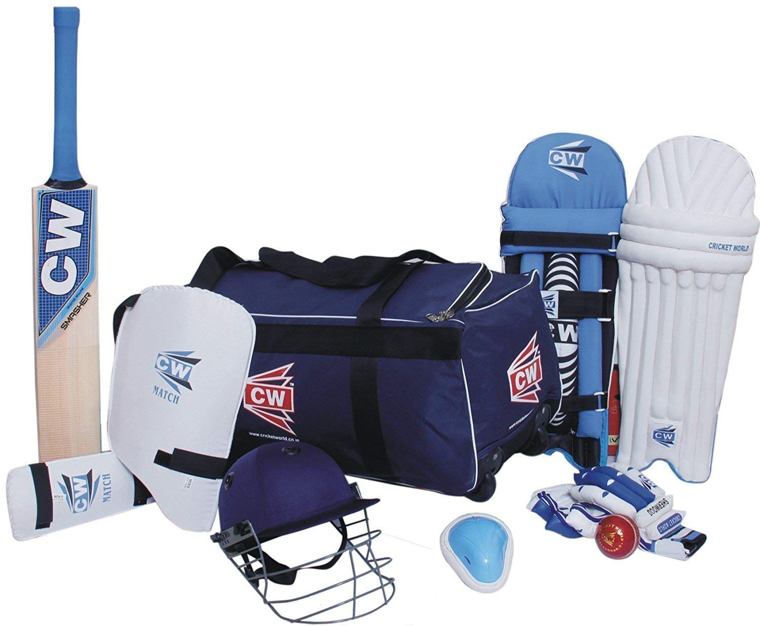 C&W Cricket World Lefty Academy 9 Item Junior Tournament Complete Kit Accessories Set Blue With Bat In Size 3 For 5-6 Yr Small Boys Designed For Left Handed Batsmen Full Of Batting Cricket Gears