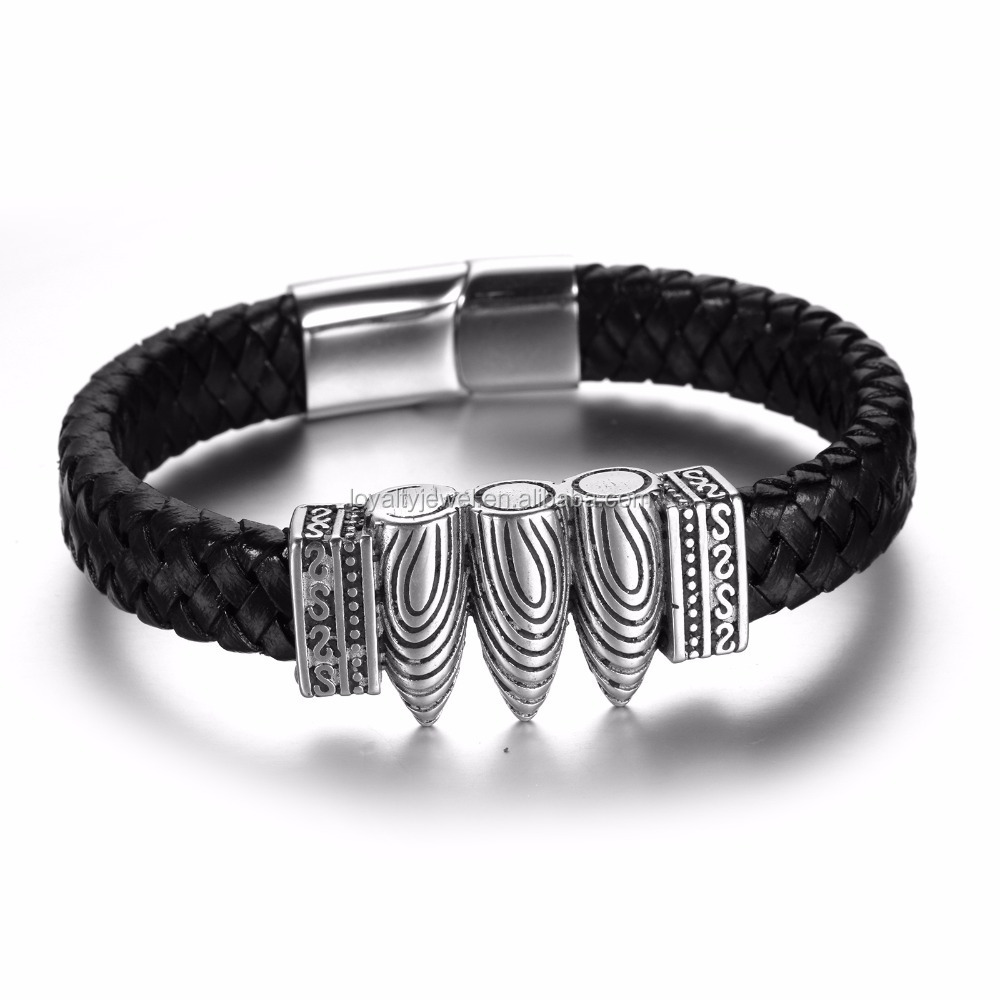 Fashion bullet stainless steel Mens leather bracelet