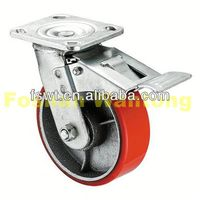 Heavy Duty Red Iron Core Polyurethane Hardware Swivel wheels and tire