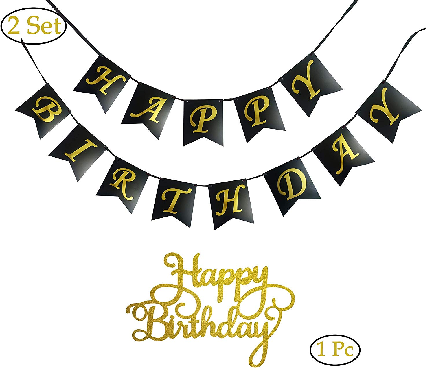 2 x Complete Sets of Happy Birthday Banners Bunting,1 x Pc of Happy Birth Day Cake Topper (Gold Glitter), Party Decorations, Available in Pink,White,Black With Gold Foil Stamp Printing (Black)