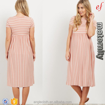 2017 Chinese new fashion Pink Striped Short Sleeve Maternity Dress