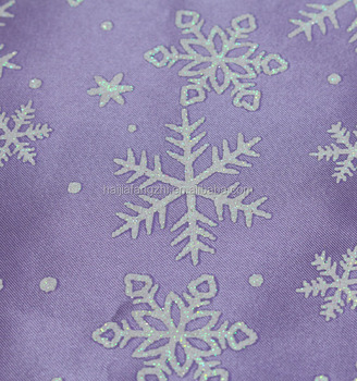 Snowflake printing polyester satin fabric barbie clothes material