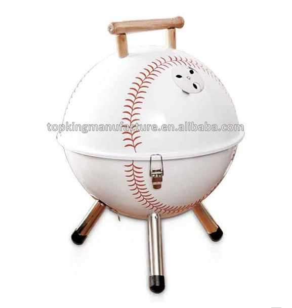 Safe Assembled Home garden indoor outdoor baseball design Charcoal Barbeque Grill with wooden handle for steak