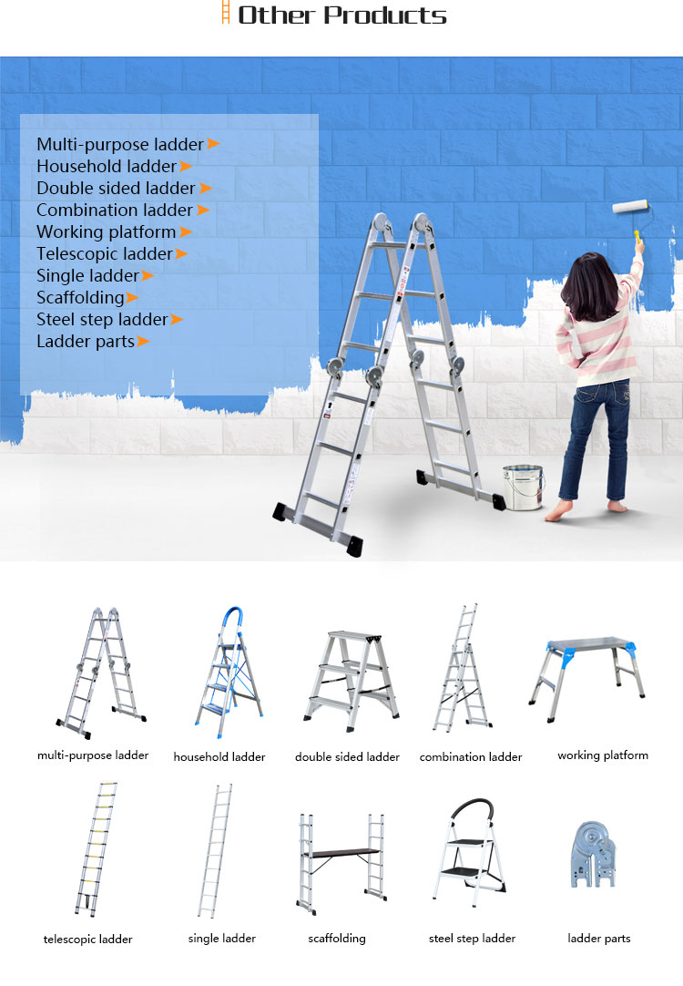 aluminium folding portable ladder with EN131 Approval AM0112D