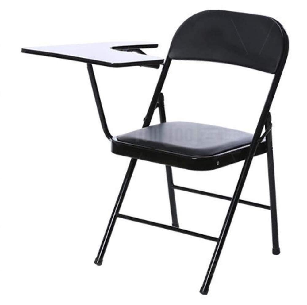 Office Folding Backrest Chair With Desk Board Reporter Chair Conference Chair Training Chair Portable Household Outdoor Desk Chairs (Color : Wood black)