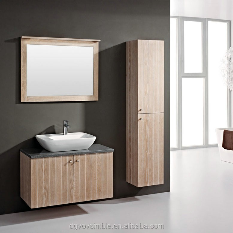 Solid Wood With Mirror Shelfs Corner Bathroom CabinetHanging Furniture