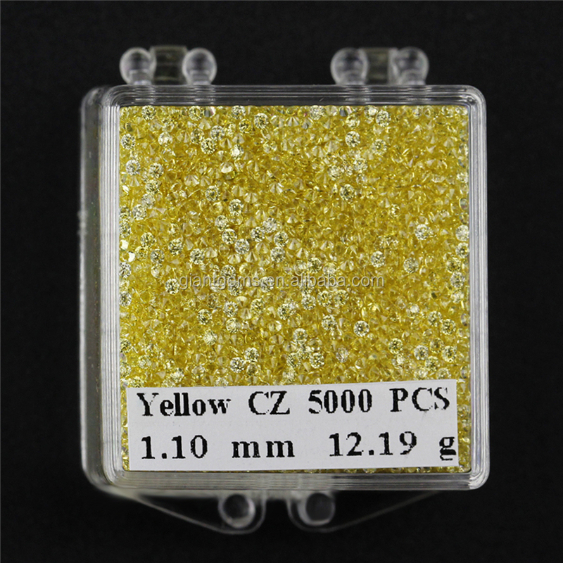 Heat resistant wholesale price yellow color <strong>stone</strong> round 1mm 1.1mm cubic zirconia loose gems