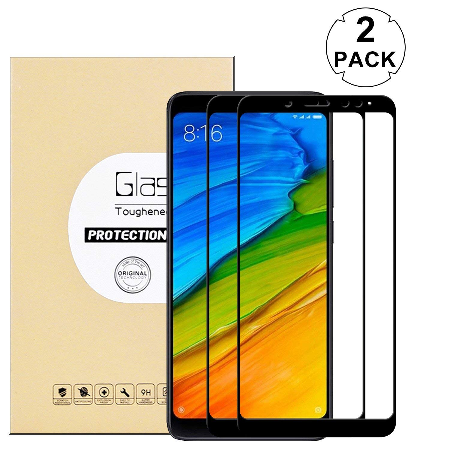 "KTTWO Redmi Note 5 Pro Screen Protector, (2PACK) Full Cover Anti-Scratch Bubble-Free Tempered Glass Screen Protector with Full Glue for Redmi Note 5 Pro 5.99""(Black)"