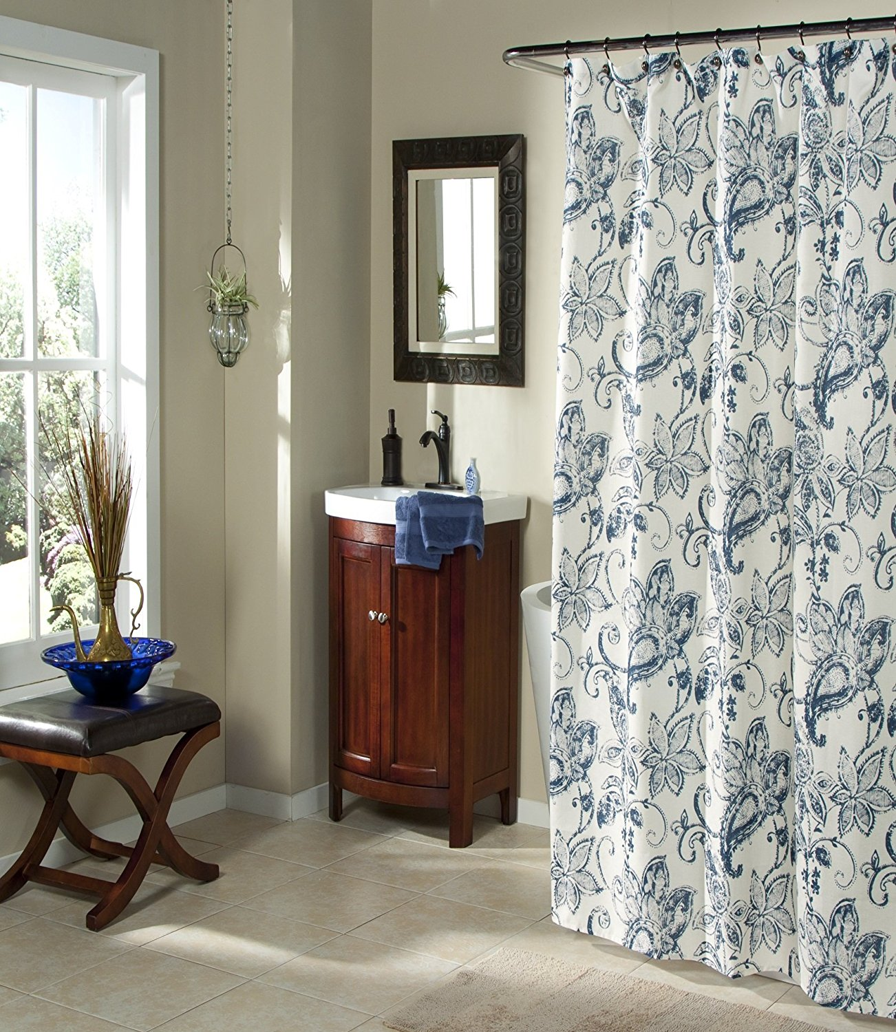 Mstyle Fabric Shower Curtain Blue Floral Pattern On Cream Background Batik Blossom Indigo