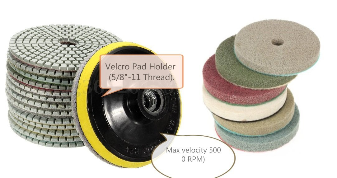 "4"" Diamond Polishing Pad 9+1 Pieces & Sponge Fiber Abrasive 6 Pad brings mirror like polished result FREE Backer Granite Marble fits Stadea Roxx Tools Dewalt Hardin Grinder polisher"