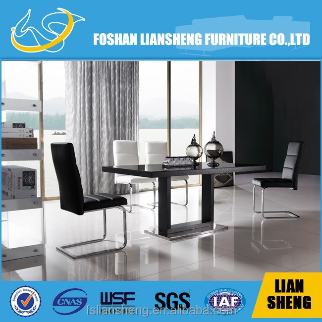 Modern luxury glass top dining table of oak veneer and chair set
