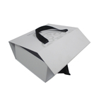Luxury Custom Black Logo White Color Foldable Cardboard Paper Magnetic Gift Box Folding Packaging Shoe Boxes With Ribbon Handle