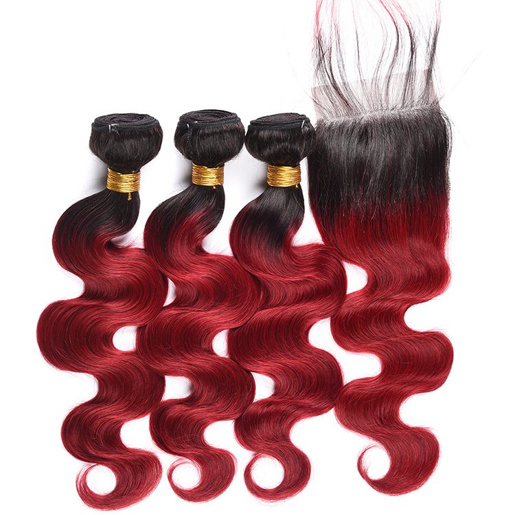 Ombre Hair Extension Color Dark Root To Wine Red Remy Brazilian Hair Bundles Body Wave 1B/BUG Human Hair Weave With Closure фото