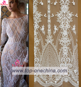 Ivory wedding dress fabric white bridal 3d sequins cathonic lace
