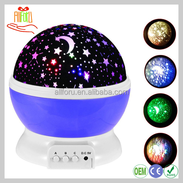 360 Degree Rotation Baby Night Light Moon Star Projector lamp Cosmos Star Projector Night Light