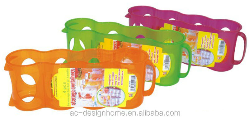FUCHSIA, TURQUOISE, LIME GREEN, ORANGE PP PLASTIC 4 PACK BEVERAGE CAN HOLDER