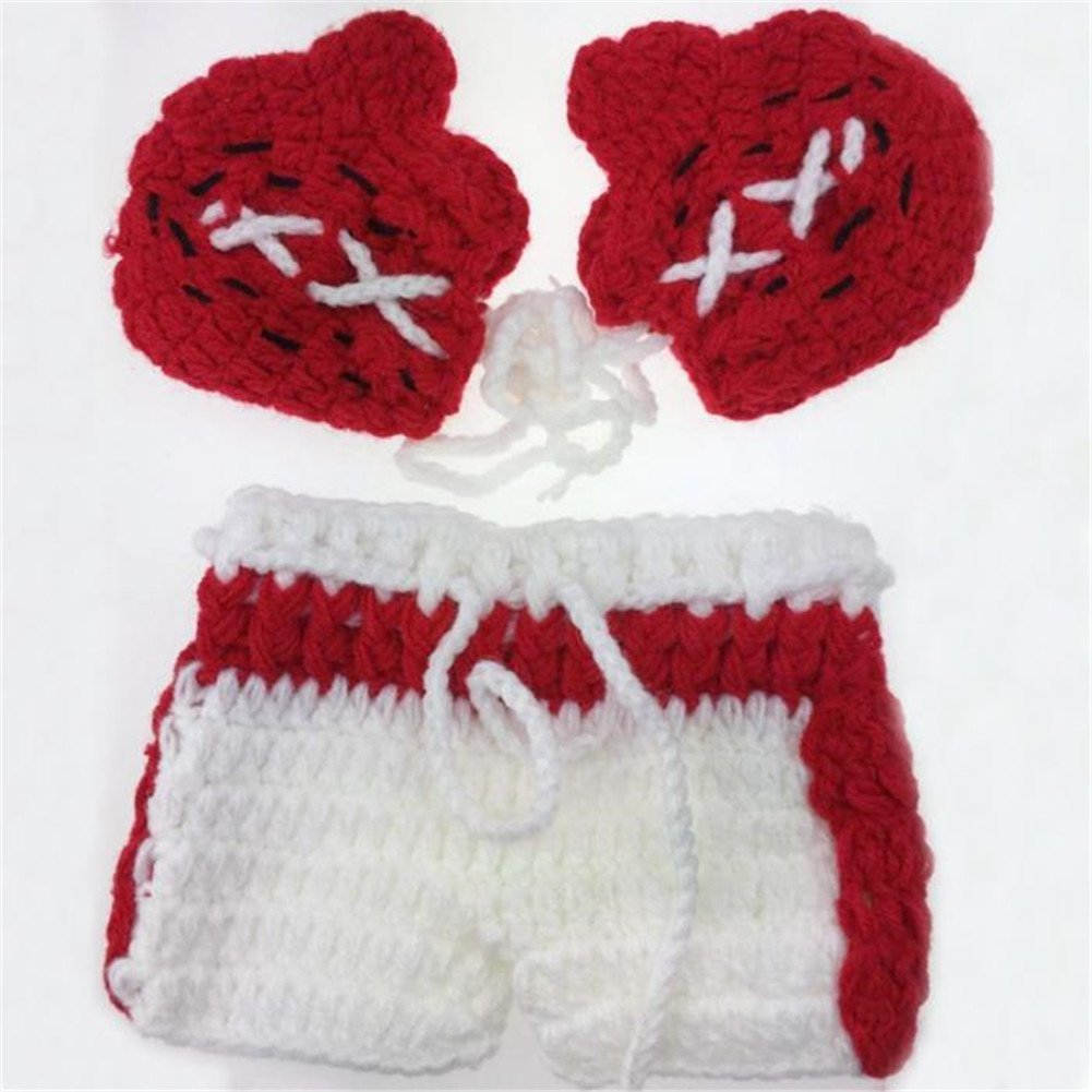 Boxing Man Baby Photo Props, Handmade Knitted Infant Baby Gloves+Shorts Set, Newborns Photography Props for Baby Shower
