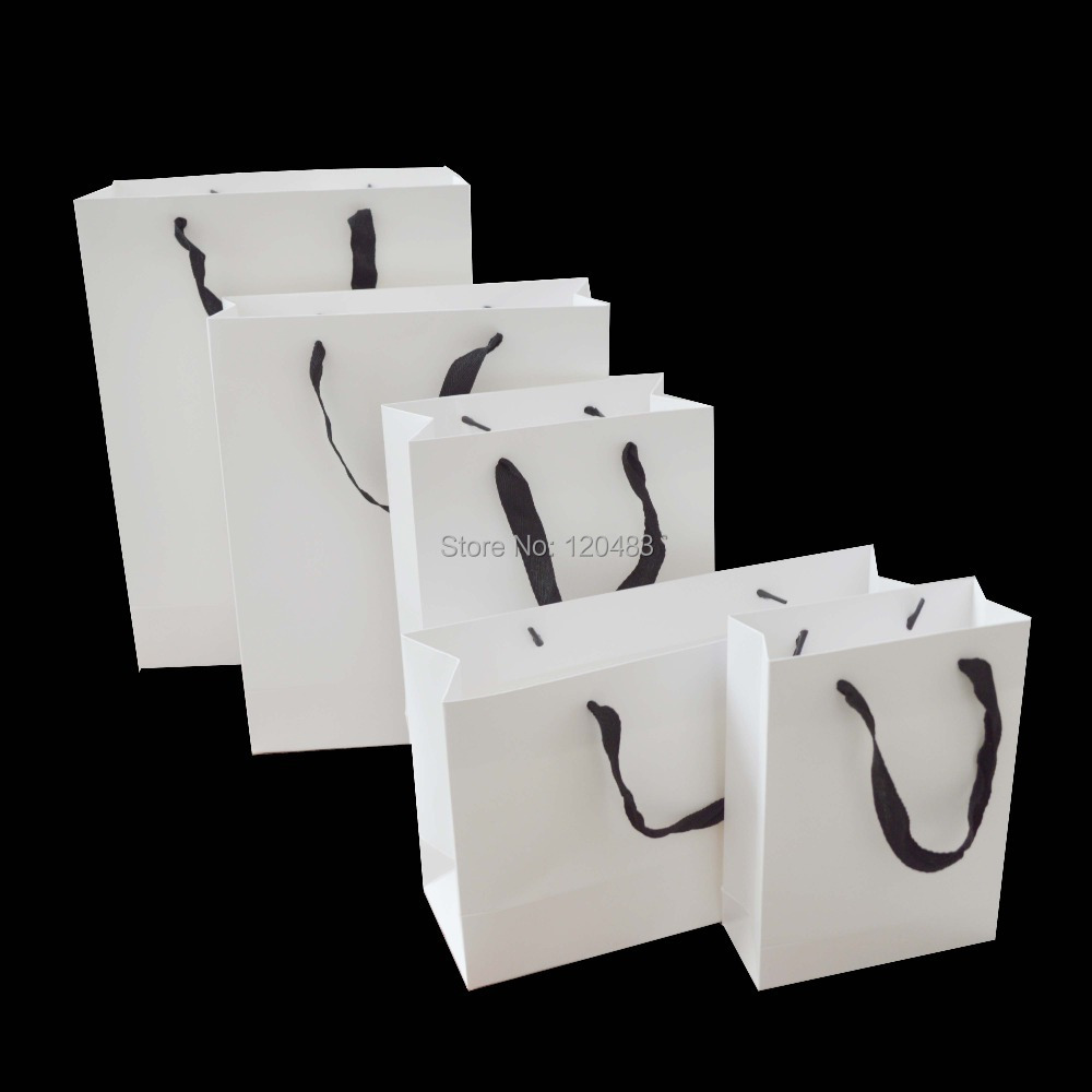200g Wholesale White Craft Paper Gift Bag With Cotten