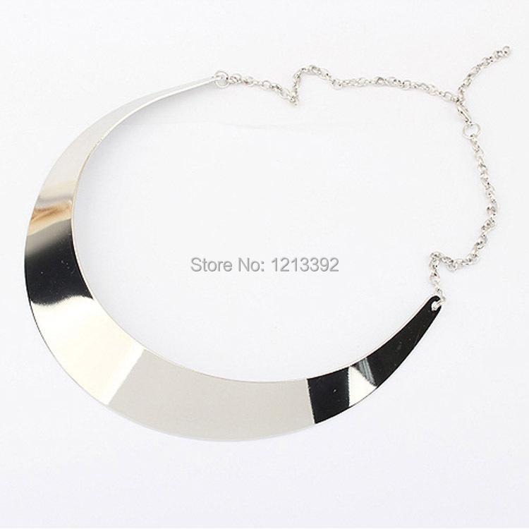 Серебряный мода уличный стиль оснастки контракт моделирование металлический воротник ожерелье для женщин BS88