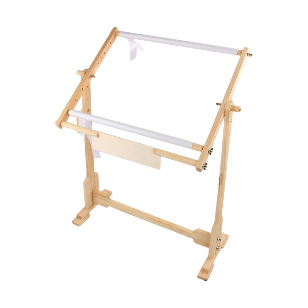 Free Ship 9CT Cross Stitch Frame Floor Stand Wooden Embroidery Stand Tapestry Hoops with Adjustable Portable Wooden Accessory