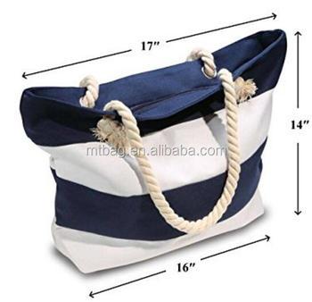 5d8daefec1 Promotional Beach Bags Straw Stripe Canvas Beach Tote Bag Wholesale ...