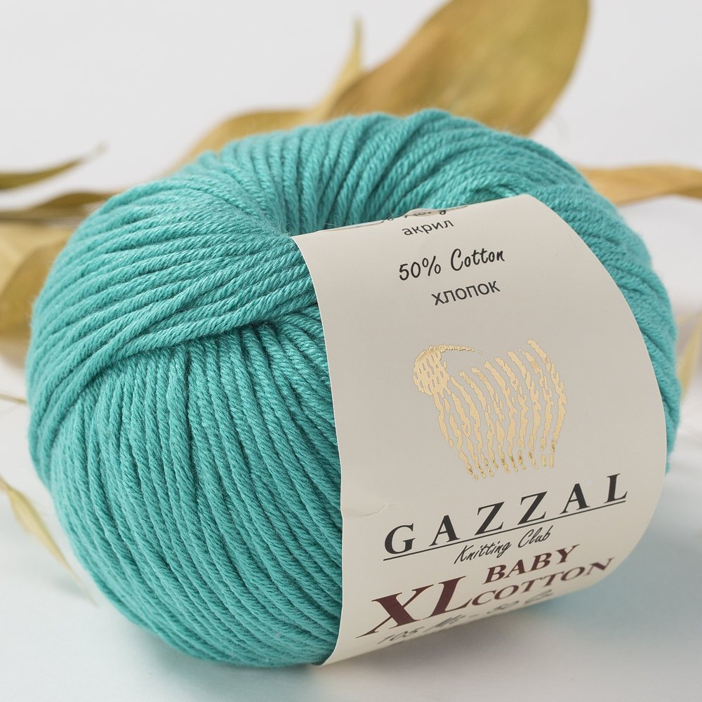3 Pack (Ball) Gazzal Baby Cotton XL Total 5.28 Oz / 344 Yrds, Each Ball 1.76 Oz (50g) / 246 Yrds (225m) Super Soft, DK- Worsted Baby Yarn, 50% Turkish Cotton, Blue - 3426