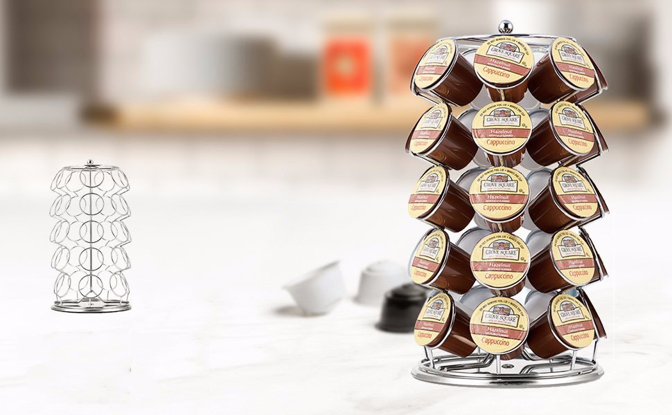 Hot sell k cup silver carousel organizer coffee capsule holder