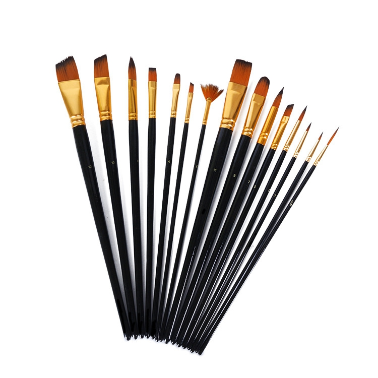 15 piece Paint Brush Set with Multi-Function Bicolor Synthetic Hair Packed in Canvas Bag
