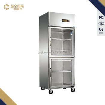 600litre Display Double Glass Door Refrigerator For Kitchen