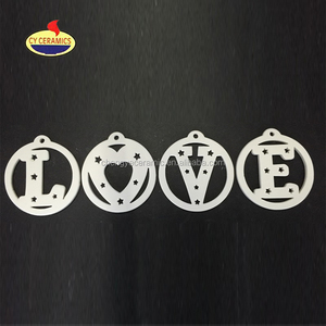 Ceramic LOVE letter Shaped Hanging Christmas Tree Ornament Home decoration