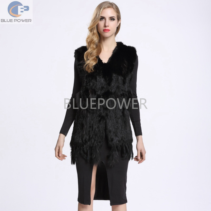 wholesale retail black rabbit fur handmade knitted slim long sleeveless vest women coat with tassel