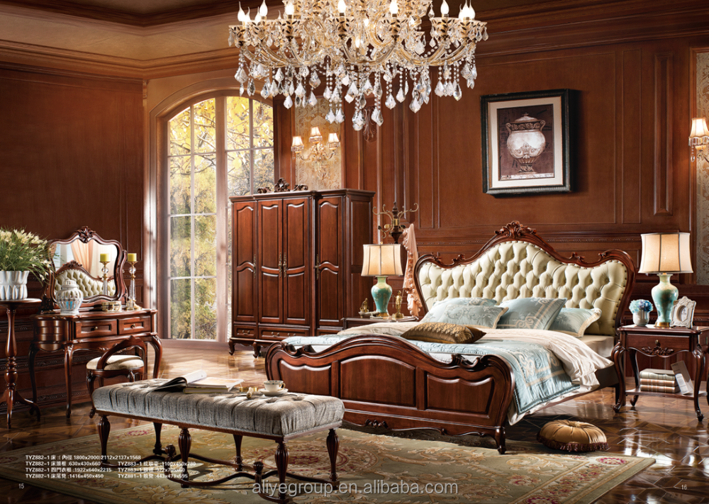 TYZB882-1-wood bed antique style frame bedroom suite home furniture adult bedrooms foshan