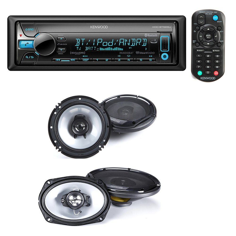 "Kenwood KDC-BT565U Single DIN Bluetooth In-Dash CD/AM/FM Car Stereo + Kenwood KFC-1665S 60W 6.5"" 2-Way Sport Series Coaxial Speakers + Kenwood KFC-6965S 90W 6x9"" 3-Way Sport Series Coaxial Speakers"