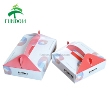 wholesale cheap cute nice top open handle box packaging mini donut box