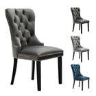 American Style Wooden Furniture Upholstered Velvet Fabric Tufted Back Dining Room Chair