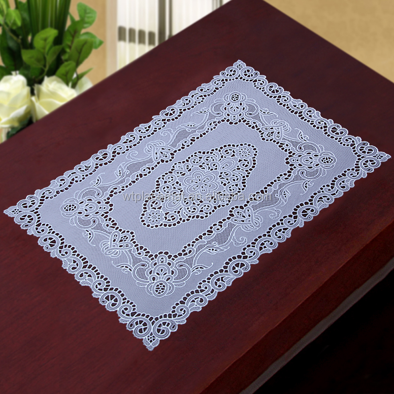 Hot Selling Plastic Rectangle table cloth with Silver Color flower embossed Cheap PVC placemats