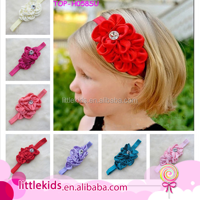 Wolesale 2017 New Design Baby Accessories,Solid Color Flower Hair Band