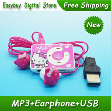 10pcs/lot High Quality Mini Hello Kitty MP3 Music Player Clip MP3 Players Support TF Card With Hello KItty Earphone&Mini USB