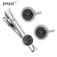 SA1010 factory custom engraved set cufflinks and tie clip watch cufflinks for men