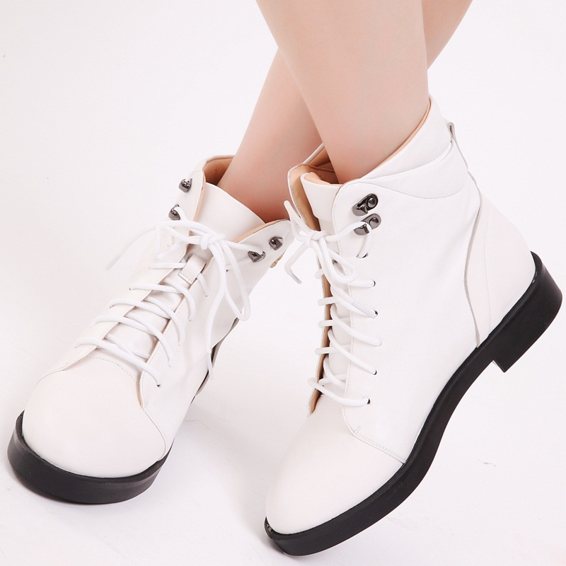 2015 spring autumn square medium heel fashion hit color women shoes round toe cross lacing rivets comfortable women ankle boots