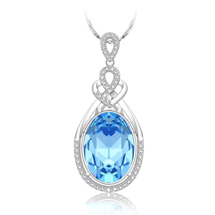 XN4137 Xuping sapphire gold color jewellery Necklace pendant Russian necklace crystals from Swarovski