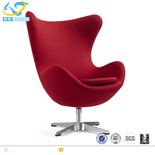 Red Color Swivel Lounge Chair, Fabric Modern Furniture Egg Chairs Cheap