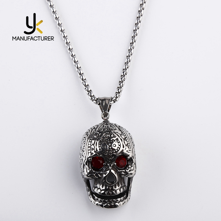 Hip Hop Jewelry Big Red Zirconia Eyes Antique Stainless Steel Skull Necklace Wholesale