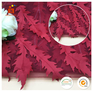 2017 big size red leaves lace mesh embroidered fabric foe sale