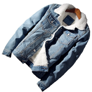 Men Jacket and Coat Trendy Warm Fleece Denim Jacket 2018 Winter Fashion Mens Jean Jacket Outwear Male Cowboy