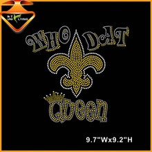 Bling Who Dat Fleur De Lis rhinestone transfers iron on wholesale
